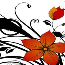 simple flowers printed canvas oil paintings