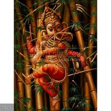 Handpainted indian Ganesha hindu god painting on canvas