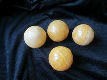 Natural yellow jade spheres, semi-precious stone spheres
