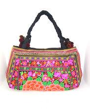 Fair Trade Tote Pom Pom Hmong Hill Tribe Handbag