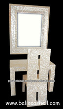 mirror furniture set covered with full white mother of pearl