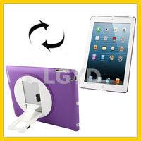 Newest 270 Degree Rotation Scrub Translucent Plastic Case with Adjustable Holder for iPad 4 / New iPad (iPad 3)
