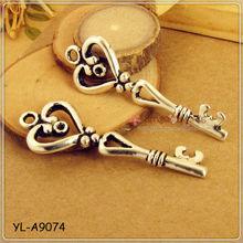 Antique Silver Heart Alice In Wonderland Key Charm