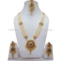 Indian Green Maroon Gold Tone Pearl Rani Haar Party Wear Wedding CZ Necklace Set