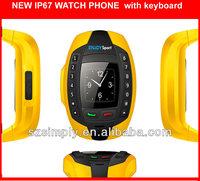 IP67 waterproof wrist cell phone with BT single sim