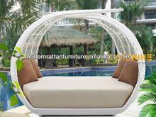 Wicker Garden Patio Sun Bed,Rattan Outdoor Leisure Double Daybed