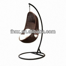 Rattan egg shape swing chair with steel frame, UV protected, waterproof cushion