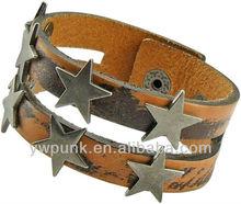 KE791 Faded Brown Leather Wristbands Pentagrams Studded Punked Up Custom Wristbands Men's Bracelets & Bangles Design Jewlery