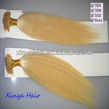 Blonde grade aaaaa virgin keratin hair extensions machine