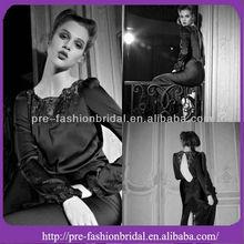 Sexy Chiffon Taffeta Sheath Backless Back Slip Applique Floor Length Black Evening Dress Long Sleeve