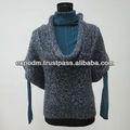 100% acrylique. manches moitié chandail de mode avec unique big cou roud, manteau de style pour le printemps et l'automne