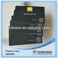Black matte authenticity card