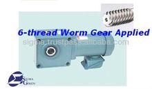 TMH-08-50: 6 thread worm & Helical gear (Chrome-molybdenum steel, CGM-3 Special brass), hollow shaft, 3-phase AC motor