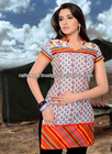 Unique Cream Royal Blue Cotton Designer Kurti 2013