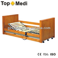 Rehabilitation Therapy Supplies 2'' Pedal locking castors Electric Wooden hospital bed furniture