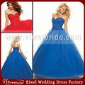 Bg0851 moda vestido de baile de tule vestidos de baile azul plissado
