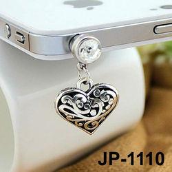 Heart Pendant Ear Cap For Mobile Phone Designer dust plug