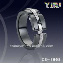 ceramics cross partition ring, white classic black ceramic ring, ceramic silver wedding ring