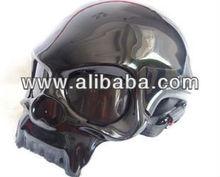 Black Skull Style Chopper helmet