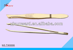 stainless steel tweezers full gold plated
