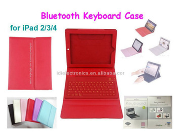 Hot selling!Keyboard Bluetooth leather case for iPad 2/3/4 for iPad 2/3/4 PU leather cover