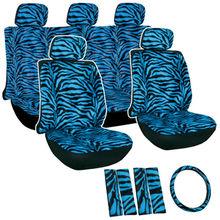 Zebra/Tiger Stripe Seat Cover Set for Car/Truck/Van/SUV, Blue & Black