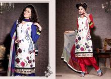 Cotton Embroidered Designer Blue & Red Salwar Kameez