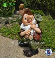 Gnome Figure Handmade Resin Dwarf Statue Garden