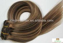 5A brazilian human hair clip-in hair extenion made in china ,higth quality virgin unprocessed human hair