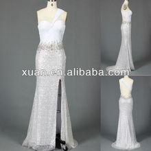 2014 Custom Made One-Shoulder Halter Open Back High Thigh Slit Sequined Evening Dress
