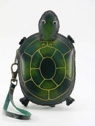 leather turtle wristlet ,coin purse