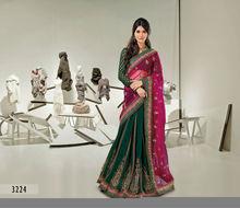 Latest Green Embroidery Designer Lace Work Lehenga Saree