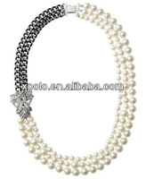 Necicle Free Zinc Alloy Imitation 3 rolls round ivory Pearl Ball with chain necklace