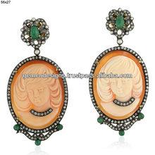 smeraldo gemma 18k oro spianare diamante a mano cameo orecchino gioielli