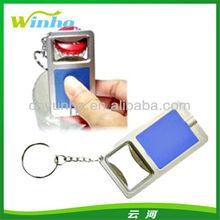Blank Plastic Light Up Keychain Bottle Opener Blue Color