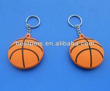 sports 3D Soft PVC key chain basketball shaped wholesale