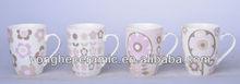 12oz samll flower decal selections belly mug ceramic