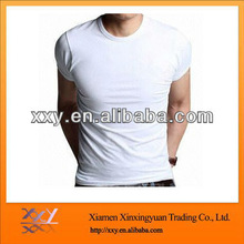 2013 100% Cotton O-neck tight tshirt Mens White Tshirt making