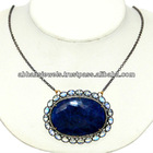 925 Silver 14K Gold Gemstone Chain Necklace,Diamond Pendant Necklace Blue Sapphire Rainbow Moonstone Necklace Jewelry