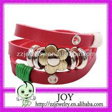 Hotsale Red Leather Bracelet Cuff With Flower Pendant, Very Long Leather Bracelet,Multi-layer Leather Bracelet