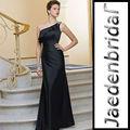 jb0233 cetim de um ombro sereia preto longo vestido da dama de honra