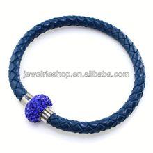 Shamballa Bracelet Crystal For Men Leather Alloy Bracelet Silver Wire Bracelet