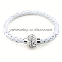 Pink Crystal Ball Woven Shamballa Bracelet Multilayer Leather Bracelet 925 Silver Bangle Bracelets