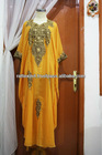 Beautiful Saffron Yellow Caftan Moroccan Style Chiffon Full Gold Modern Embroidery Jalabiya For Women 2013