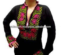 M/L/XL/XXL Long Black Dress Ladies Tunic Blouse Top Hand Embroidered Kurta 2013