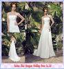 Sheath Strapless Sweep Train Wedding Chiffon Dress With Flowers FW-9224