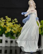European ceramic art sculpture-Long hair western sex girl