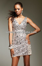 CW471 Sparkle new fashion V-Neck short special occasions rhinestones prom dresses girls party dresses