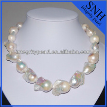 Large nucleated baroque pearl necklace