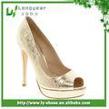 peep toe de oro zapatos de tacón alto shinniny zapato de fiesta